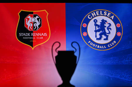 NYON, SWISS, NOVEMBER 2. 2020: Stade Rennes Vs. Chelsea. Football UEFA Champions League 2021 Group Stage match. UCL Trophy silhouette, sign of club on the screen in background