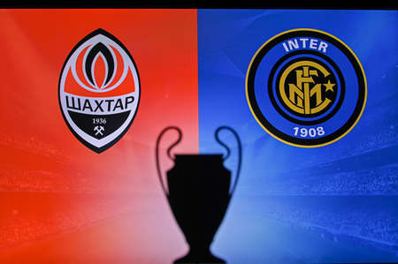MADRID, SPAIN, NOVEMBER. 16. 2020: Shakhtar Donetsk Vs. Inter Milan. Football UEFA Champions League 2021 Group Stage match. UCL Trophy silhouette, sign of club on the screen in background