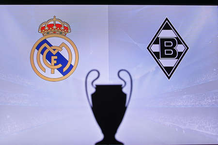 MADRID, SPAIN, NOVEMBER. 16. 2020: Real Madrid Vs. Borussia Mönchengladbach Football UEFA Champions League 2021 Group Stage match. UCL Trophy silhouette, sign of club on the screen in background
