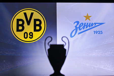 NYON, SWISS, NOVEMBER 2. 2020: Borussia Dortmund Vs. Zenit Saint Petersburg. Football UEFA Champions League 2021 Group Stage match. UCL Trophy silhouette, sign of club on the screen in background