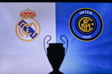 MADRID, SPAIN, NOVEMBER. 16. 2020: Real Madrid Vs. Inter Milan Football UEFA Champions League 2021 Group Stage match. UCL Trophy silhouette, sign of club on the screen in background