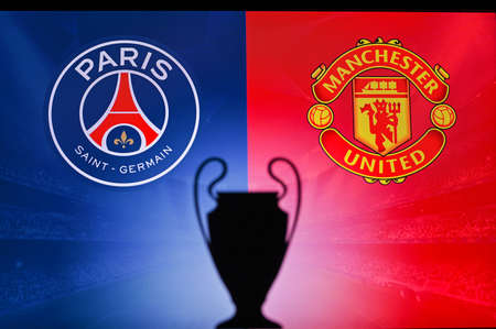 PARIS, FRANCE, OCTOBER. 16. 2020: Paris Saint-Germain vs. Manchester United .. Football UEFA Champions League 2021 Group Stage match. UCL Trophy silhouette, sign of club on the screen in background 新聞圖片
