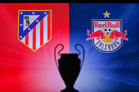 MADRID, SPAIN, NOVEMBER. 16. 2020: Atletico Madrid Vs. Red Bull Salzburg. Football UEFA Champions League 2021 Group Stage match. UCL Trophy silhouette, sign of club on the screen in background 新聞圖片