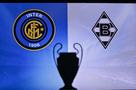 MADRID, SPAIN, NOVEMBER. 16. 2020: Inter Milan vs. Borussia Mönchengladbach Football UEFA Champions League 2021 Group Stage match. UCL Trophy silhouette, sign of club on the screen in background Redactioneel