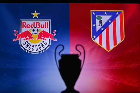 NYON, SWISS, NOVEMBER 2. 2020: Red Bull Salzburg vs. Atlético Madrid. Football UEFA Champions League 2021 Group Stage match. UCL Trophy silhouette, sign of club on the screen in background