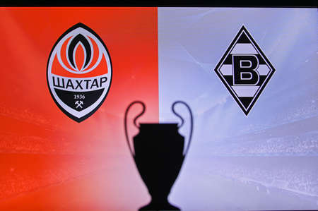 MADRID, SPAIN, NOVEMBER. 16. 2020: Shakhtar Donetsk Vs. Borussia Mönchengladbach Football UEFA Champions League 2021 Group Stage match. UCL Trophy silhouette, sign of club on the screen in background Redactioneel