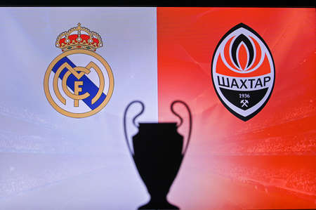 MADRID, SPAIN, NOVEMBER. 16. 2020: Real Madrid vs, Shakhtar Donetsk Football UEFA Champions League 2021 Group Stage match. UCL Trophy silhouette, sign of club on the screen in background 新聞圖片