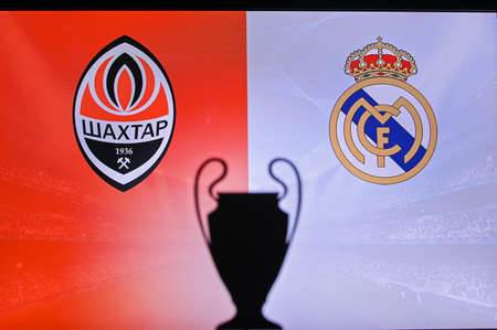 MADRID, SPAIN, NOVEMBER. 16. 2020: Shakhtar Donetsk Vs. Real Madrid Football UEFA Champions League 2021 Group Stage match. UCL Trophy silhouette, sign of club on the screen in background
