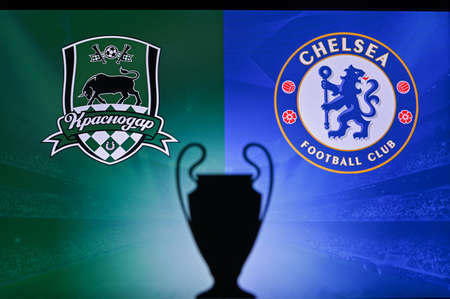 NYON, SWISS, NOVEMBER 2. 2020: Krasnodar Vs. Chelsea. Football UEFA Champions League 2021 Group Stage match. UCL Trophy silhouette, sign of club on the screen in background 新聞圖片