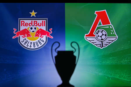 NYON, SWISS, NOVEMBER 2. 2020: Red Bull Salzburg vs. Lokomotiv Moscow. Football UEFA Champions League 2021 Group Stage match. UCL Trophy silhouette, sign of club on the screen in background