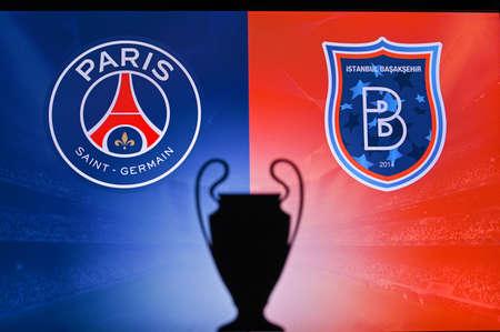 NYON, SWISS, NOVEMBER 2. 2020: PARIS, FRANCE, OCTOBER. 16. 2020: Paris Saint-Germain vs. Ä°stanbul Basaksehir. Football UEFA Champions League 2021 Group Stage match. UCL Trophy silhouette