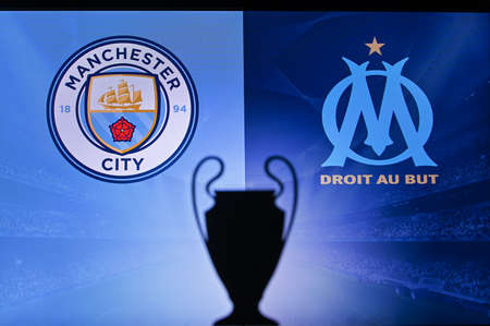 NYON, SWISS, NOVEMBER 2. 2020: Manchester City Vs. Olympique Marseille. Football UEFA Champions League 2021 Group Stage match. UCL Trophy silhouette, sign of club on the screen in background