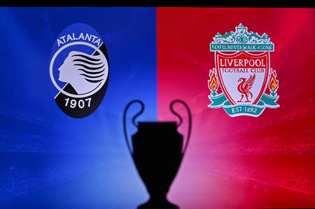 NYON, SWISS, NOVEMBER 2. 2020: Atalanta Vs. Liverpool. Football UEFA Champions League 2021 Group Stage match. UCL Trophy silhouette, sign of club on the screen in background