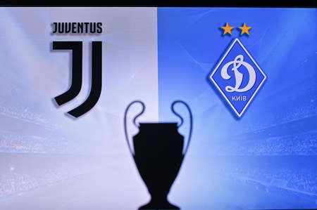 NYON, SWISS, NOVEMBER 2. 2020: Juventus Vs. Dynamo Kyiv. Football UEFA Champions League 2021 Group Stage match. UCL Trophy silhouette, sign of club on the screen in background