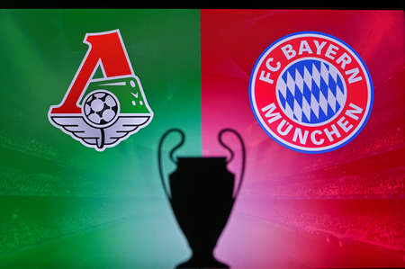 NYON, SWISS, NOVEMBER 2. 2020: Lokomotiv Moscow vs. Bayern Munich. Football UEFA Champions League 2021 Group Stage match. UCL Trophy silhouette, sign of club on the screen in background