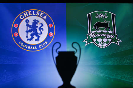 NYON, SWISS, NOVEMBER 2. 2020: Chelsea Vs. Krasnodar. Football UEFA Champions League 2021 Group Stage match. UCL Trophy silhouette, sign of club on the screen in background 新聞圖片