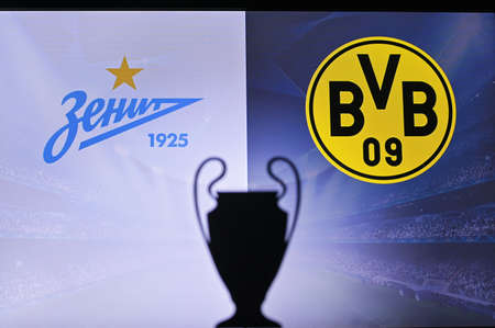 NYON, SWISS, NOVEMBER 2. 2020: Zenit Saint Petersburg vs. Borussia Dortmund. Football UEFA Champions League 2021 Group Stage match. UCL Trophy silhouette, sign of club on the screen in background