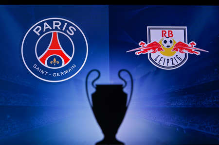 PARIS, FRANCE, OCTOBER. 16. 2020: Paris Saint-Germain vs. RB Leipzig. Football UEFA Champions League 2021 Group Stage match. UCL Trophy silhouette, sign of club on the screen in background