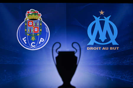 NYON, SWISS, NOVEMBER 2. 2020: Porto FC vs. Olympique Marseille. Football UEFA Champions League 2021 Group Stage match. UCL Trophy silhouette, sign of club on the screen in background