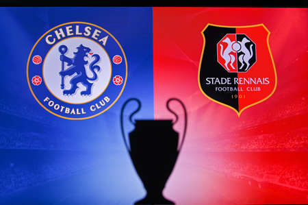 NYON, SWISS, NOVEMBER 2. 2020: Chelsea Vs. Stade Rennes. Football UEFA Champions League 2021 Group Stage match. UCL Trophy silhouette, sign of club on the screen in background 新聞圖片
