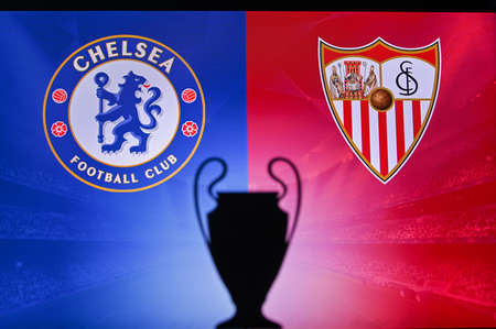 NYON, SWISS, NOVEMBER 2. 2020: Chelsea Vs. Seville. Football UEFA Champions League 2021 Group Stage match. UCL Trophy silhouette, sign of club on the screen in background