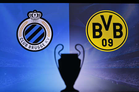 NYON, SWISS, NOVEMBER 2. 2020: Club Brugge vs. Borussia Dortmund. Football UEFA Champions League 2021 Group Stage match. UCL Trophy silhouette, sign of club on the screen in background