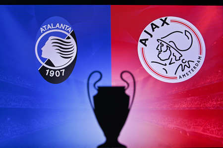 NYON, SWISS, NOVEMBER 2. 2020: Atalanta Vs. Ajax Amsterdam. Football UEFA Champions League 2021 Group Stage match. UCL Trophy silhouette, sign of club on the screen in background