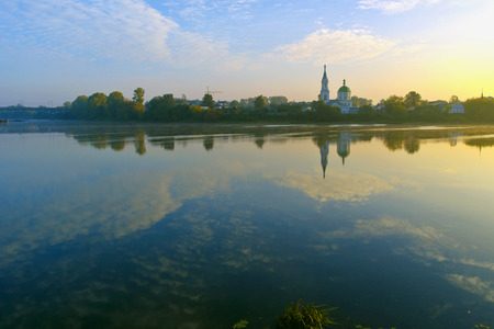 monastery nature: Quiet sunny summer morning on the Volga. Holy Catherine Monastery in Tver