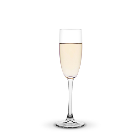 champagne glass on white background.