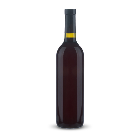 bottle with red wine on a white background Standard-Bild