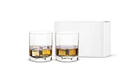 steel ice for whiskey in a glass with a white box on a white background.