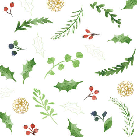 Watercolor illustration of Christmas items