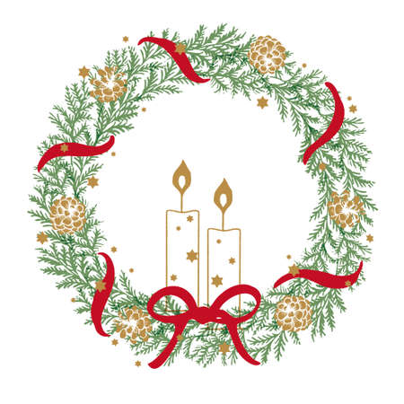Illustrations of traditional Christmas wreaths