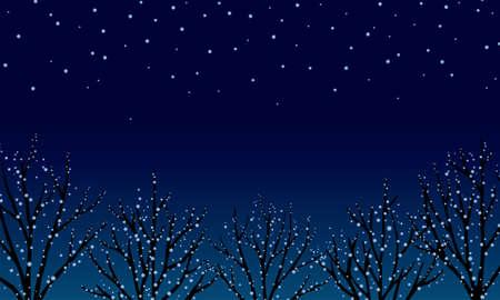 Christmas Night View Illuminations/Blue Фото со стока