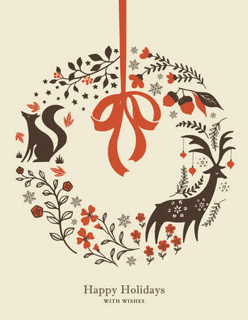 Illustrations of Nordic Christmas wreaths