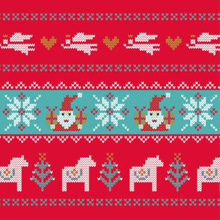 Nordic Pattern/Hand-knitted Christmas Illustrations Иллюстрация