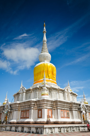 Phra That Na Dun is Landmark MahaSarakham ,Thailand Bhudda temple Stupa Maha Sarakham landmark,Temple blue sky in Maha Sarakham, Thailand; Phra That Na Dun (Temple), Editorial