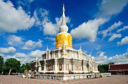 mahasarakham: Phra That Na Dun is Landmark MahaSarakham ,Thailand Bhudda temple Stupa Maha Sarakham landmark,Temple blue sky in Maha Sarakham, Thailand; Phra That Na Dun (Temple), Editorial