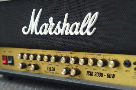 KHONKAEN, THAILAND - December 15, 2016: Marshall amplifier JCM2000 TSL60. Marshall was founded by drum shop owner and drummer Jim Marshall, and is now based in Bletchley, Milton Keynes. Editorial