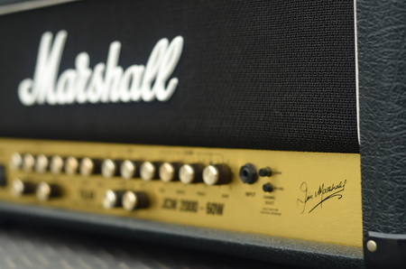 amp: KHONKAEN, THAILAND - December 15, 2016: Marshall amplifier JCM2000 TSL60. Marshall was founded by drum shop owner and drummer Jim Marshall, and is now based in Bletchley, Milton Keynes. Editorial