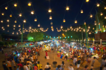 Walking street Khon Kaen city,Thailand,blurred for background.