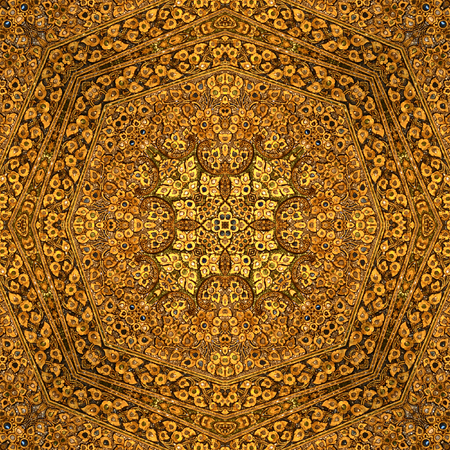 Gold Pattern abstract textures for Background,kaleidoscope  Photo technique