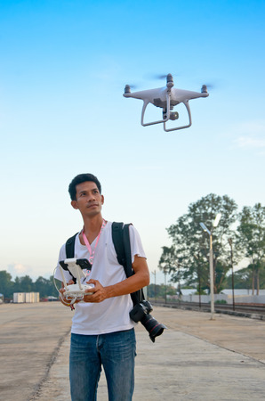 KHON KAEN, Thailand - July 31, 2017 :  Man with drone flying, Khon Kaen, Thailand.