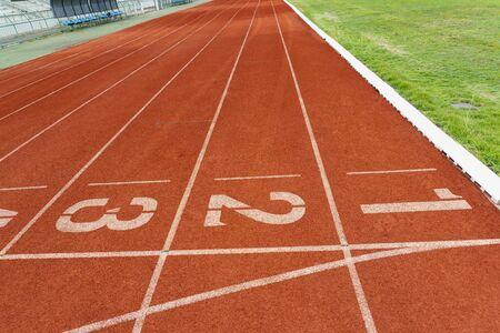 Red rubber running track, outdoor sport floor, 版權商用圖片