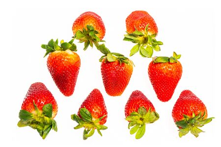 fresh strawberry isolated on white background, The fruit is not yet ripe.