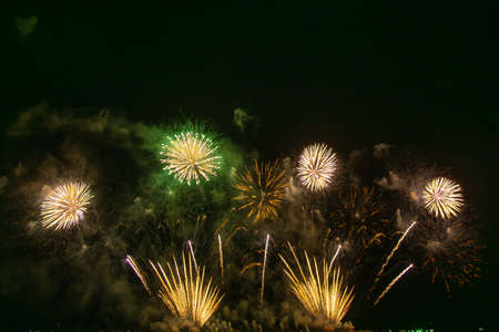 Beautiful multi color fireworks explosions lighting sky over trees silhouette and over an illuminated,colorful fireworks celebration concept