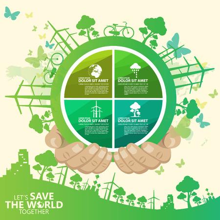 go green: save the world Illustration