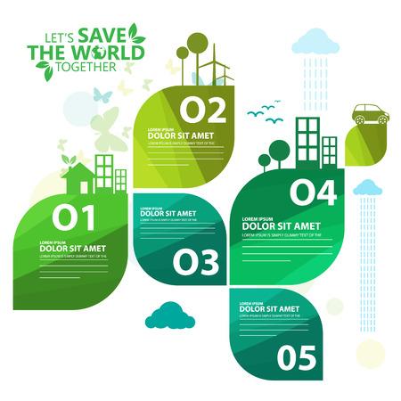 緑のインフォ グラフィック  イラスト・ベクター素材