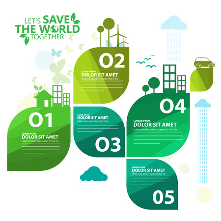 go green icons: green infographic Illustration