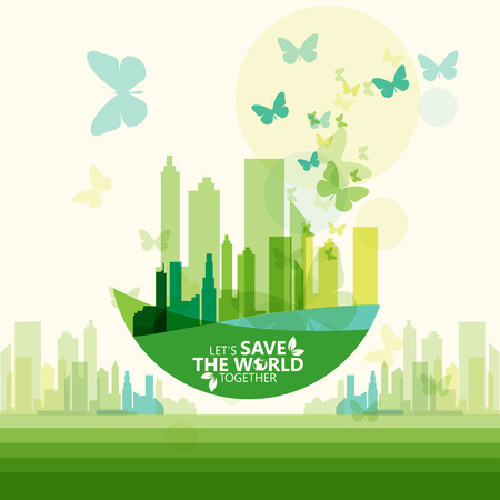 recycle tree: save the world Illustration